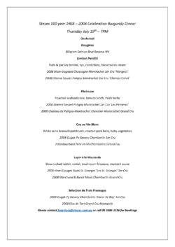 Burgundy Dinner Full Wine List & Menu